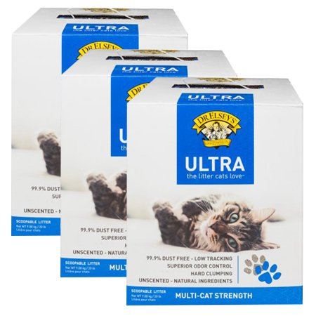 Dr. Elsey's Ultra 20 lb Multi-Cat Cat Litter Scoopable (3 packs)