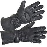 Xelement XG852 Men's Black Insulated Leather Deerskin Gauntlet Motorcycle Gloves - Large