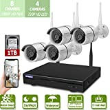 Wireless 8-Channel 1080P Security Camera System with 4pcs 720P Full HD Cameras,Home CCTV Surveillance System,Indoors&Outdoors IP Cameras+8CH House WiFi NVR Recorder,1TB Hard Disk Drive Pre-Install