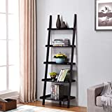 """Product review for Black Finish 5 Tier Bookcase Shelf Ladder Leaning - 72"""" Height"""