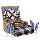 BBBuy Deluxe Traditional Wicker Picnic Basket Hamper with Cutlery, Plates, Glasses, Tableware & Fleece Blanket (for 4 Person)