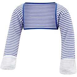 ScratchSleeves | Baby Boys' Stay-On Scratch Mitts Stripes | Blue and Cream | 9 to 12 Months