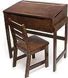 Lipper International 564WN Child's Slanted Top Desk & Chair, Walnut Finish
