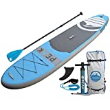 PEAK Inflatable Stand Up Paddle Board with Adjustable Paddle, Travel Backpack and Coil Leash, 128 x 31 x 6-Inches, Blue