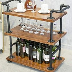 Industrial Bar Carts/Serving Carts/Kitchen Carts/Wine Rack Carts on Wheels with Storage – Industrial Rolling Carts – Wine Tea Liquor Shelves/Holder – Solid Wood and Metal Home Furniture (Bar Cart 002)