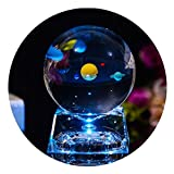 3D Crystal Ball with Solar System model and LED lamp Base, Clear 80mm (3.15 inch) Solar System Crystal Ball, Best Birthday Gift for Kids, Teacher of Physics, Girlfriend Gift, Classmates and Kids Gift