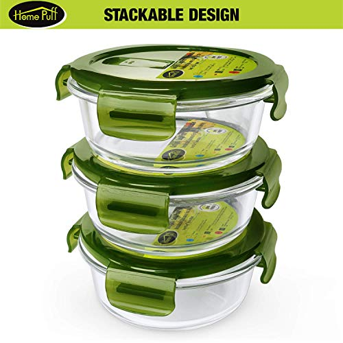 51uEf1WZuFL - Home Puff Borosilicate Glass Lunch Box H29 Microwavable, AirVent Lid, Premium Carry Bag (320 ML, Set of 4)