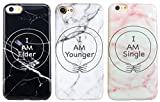 SHARK Infinity Best Friends Style'I am elder &I am younger & I am single' Marble Matching Couple Phone Cases for