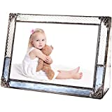 J Devlin Pic 381-46H Blue Stained Glass Picture Frame Photo Frame Vintage Home Decor (4x6 Horizontal)