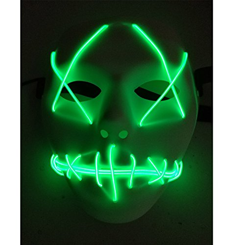 Halloween Mask Cosplay LED Glow Scary EL Wire Light Up Grin Masks ...
