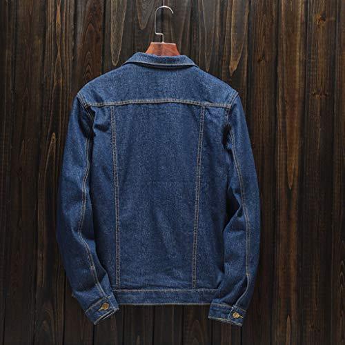 HJuyYuah Men's Autumn Winter Casual Long Sleeve Turn-Down Collar Solid Denim Jacket Coat deal 50% off 51uI9L40pbL