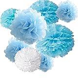 "18pcs Tissue Hanging Paper Pom-poms, Hmxpls Flower Ball Wedding Party Outdoor Decoration Premium Tissue Paper Pom Pom Flowers Craft Kit ( Blue & White), 8""/ 10""/ 12"""