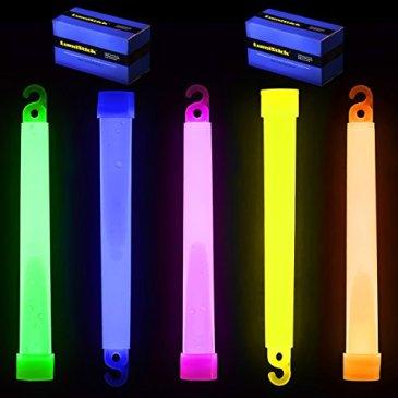 Lumistick 6 Inch Premium Glow Sticks | 15mm Thick Flat Botto