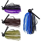 RUNCL Anchor Box - Football Jigs, Bass Fishing Jigs 3/8oz - Silicone Skirts, Spike Trailer Keeper, Streamlined Football Head, Weedguard System, Proven Colors - Fishing Lures (Pack of 4)