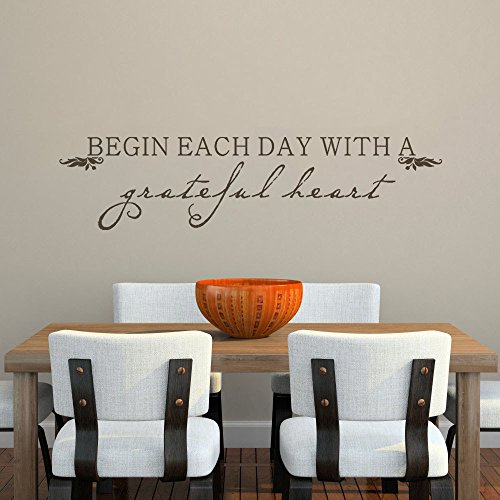 MairGwall Home Decor -Begin Each Day With A Grateful Heart- Inspirational Quote Decal Dining Room Wall Graphics(Black, Medium)