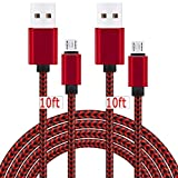 2 Pack 10Ft Android Charger Cable Micro USB Charging Cord 2A Fast Quick Power and Data Sync for Samsung Galaxy S7/S6 Edge/Plus/Active, J7 J3, Note 5/4, PS4 Xbox One Controller, LG G4, Moto G5 - Red