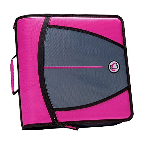 Case-it Mighty Zip Tab 3-Inch Zipper Binder, Magenta, D-146-MAG