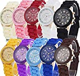 Yunanwa Wholesale Lot of 10 Pack Assorted Silicone Watch Women Men Unisex Jelly Watches (10pcs-6886)