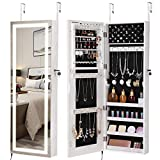 SONGMICS Jewelry Cabinet with LED Light Strip, Wall/Door Mounted Jewelry Armoire with Frameless Mirror and Touch Sensor, Plug-in Power UJBC66NL