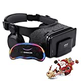 """3D VR Headset with Remote Controller for VR Games & 3D Movies - Virtual Reality Headset with Built-in Headphone and Adjustable Staps, for Apple iPhone & Android Smartphones of 4.7"""" - 6.2"""" - Black"""