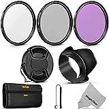 58MM Professional Lens Filter Accessory Kit (Vivitar Filter Kit (UV, CPL, FLD) + Carry Pouch + Tulip Lens Hood + Snap-On Lens Cap w/ Cap Keeper Leash + MagicFiber Microfiber Lens Cleaning Cloth)