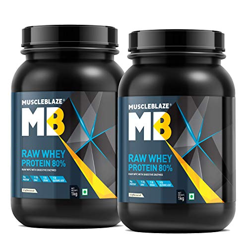 MuscleBlaze Raw Whey Protein Concentrate 80% (Unflavoured, 1 kg / 2.2 lb, Pack of 2)