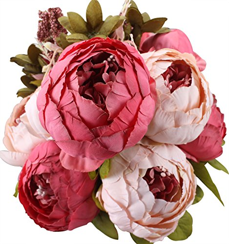 Duovlo Fake Flowers Vintage Artificial Peony Silk Flowers Wedding Home Decoration,Pack of 1 (Dark Pink)