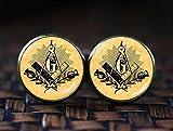 Masonic compass cufflinks, freemason symbol cufflinks, mason compass, mason signs cuff inks, Sacred geometry cufflinks,
