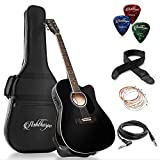 Ashthorpe Full-Size Cutaway Thinline Acoustic-Electric Guitar Package - Premium Tonewoods - Black