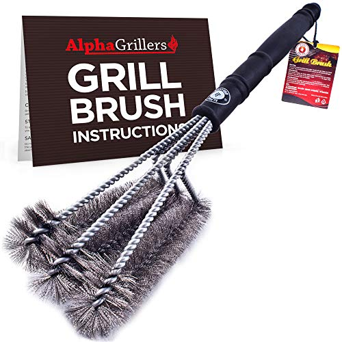 Alpha Grillers 18' Grill Brush. Best BBQ Cleaner. Safe for All Grills. Durable & Effective. Stainless Steel Wire Bristles and Stiff Handle. A for Barbecue Lovers.