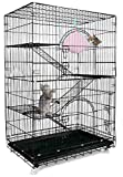Petsmatig Wire Cat Cage: Spacious Foldable Metal Pet Crate Playpen with 3 Openings, 3 Platforms, 3 Ladders, 1 Hammock, 1 Bottom Tray, 4 Wheels and Free Grooming Gloves