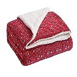 Bedsure Metallic Sherpa Fleece Blanket Twin Size Red Plush Throw Blanket Fuzzy Soft Blanket Microfiber