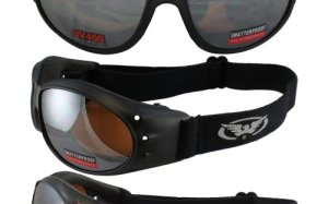 Red Baron Motorcycle / Aviator Goggles Black Padded Frame w/ Driving Mirrored Lens