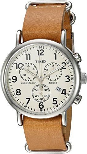 Timex Weekender Chrono Analog-Quartz Watch with Leather Strap, Brown, 20 (Model: TWC063500)