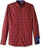 IZOD Men's Big Slim Fit Heritage Long Sleeve Button Down Tartan Shirt, Real red, 3X-Large Tall