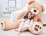 IKASA 63' Giant Teddy Bear Over 5 Feet with Big Footprints Plush Toy Stuffed Animals Light Brown