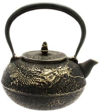 Kotobuki Japanese Iron Teapot, Black and Gold Dragon