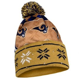NFL Los Angeles Rams Busy Block Printed Light Up Beanie, One Size, Blue