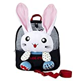 ColorfulHall Baby Safety Harness Backpack 1-3 Y Kids Backpack with Leash and Removable Stuffed Animals Rabbit