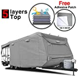 RVMasking 5-ply Top Travel Trailer RV Cover, Fits 22'1' - 24' RVs - Breathable Waterproof Anti-UV Ripstop Camper Cover with 15 PCS Windproof Buckles & Adhesive Repair Patch (25.4'&59')