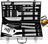 ROMANTICIST 21pc Complete Grill Accessories Kit with Cooler Bag - The Very Best Grill Gift on Birthday Valentine's Day - Professional BBQ Accessories Set with Case for Outdoor Camping Grilling Smoking