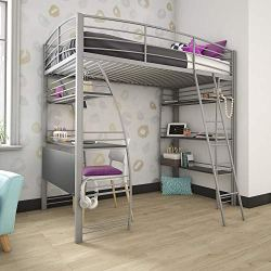DHP Studio Loft Bunk Bed Over Desk and Bookcase with Metal Frame – Twin (Gray)