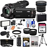 Panasonic HC-WXF991 Wi-Fi 4K Ultra HD Video Camera Camcorder with 64GB + Case + Tripod + LED Light + 2 Mics + Filters + Fisheye, Tele/Wide Lenses Kit