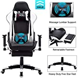 EDWELL Ergonomic Gaming Chair with Headrest and Lumbar Massage Support,Racing Style PC Computer Chair Height Adjustable Swivel with Retractable Footrest Executive Office Chair (White)