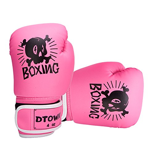Dtown Kids Boxing Gloves 4oz Training Gloves for Children Age 3 to 7 Years PU Leather Pink