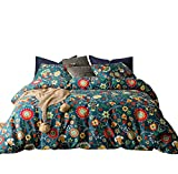 SUSYBAO 3 Pieces Duvet Cover Set 100% Natural Cotton Queen Size Multi-Colored Red Sunflowers Cactus Monster Floral Bedding with Zipper Ties 1 Duvet Cover 2 Pillowcases Luxury Quality Soft Breathable