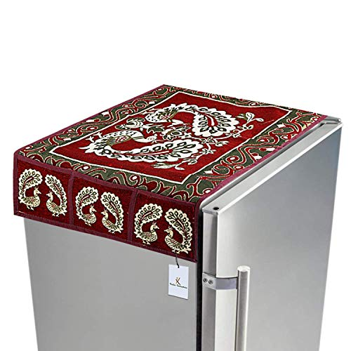 Kuber Industriestm Red Cotton Fridge Top Cover (Peacock Design) (Fc09) 1