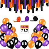 Sorive 100 Pieces 12 Inches Latex Balloons and 12 Rolls Crepe Streamers for Halloween Decorations Party Supplies, Orange and Black,Purple