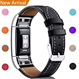For Fitbit Charge 2 Replacement Bands, Hotodeal Classic Genuine Leather Wristband With Metal Connectors, Fitness Strap for Charge 2, Classic Black