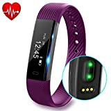 Fitness Tracker with Heart Rate monitor V2 Activity Watch Step Walking Sleep Counter Wireless Wristband Pedometer Exercise Tracking Sweatproof Sports Bracelet for Android and iOS, Purple, Hembeer